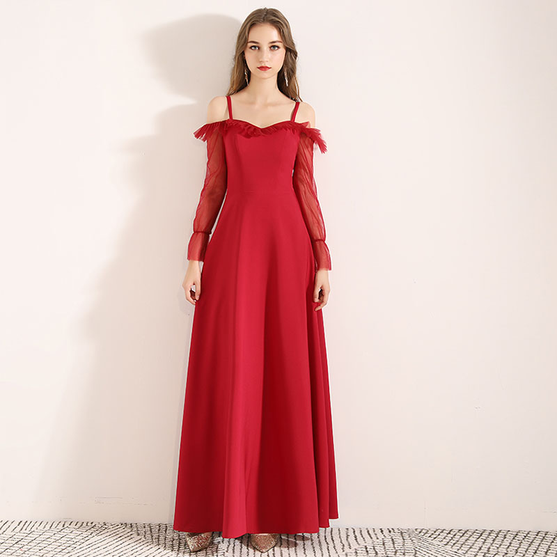 Off The Shoulder Red   Prom     Dresses   Long Sleeves Ruched Neckline 2019 A-line Formal Party   Dresses   Simple   Prom   Gowns Cheap