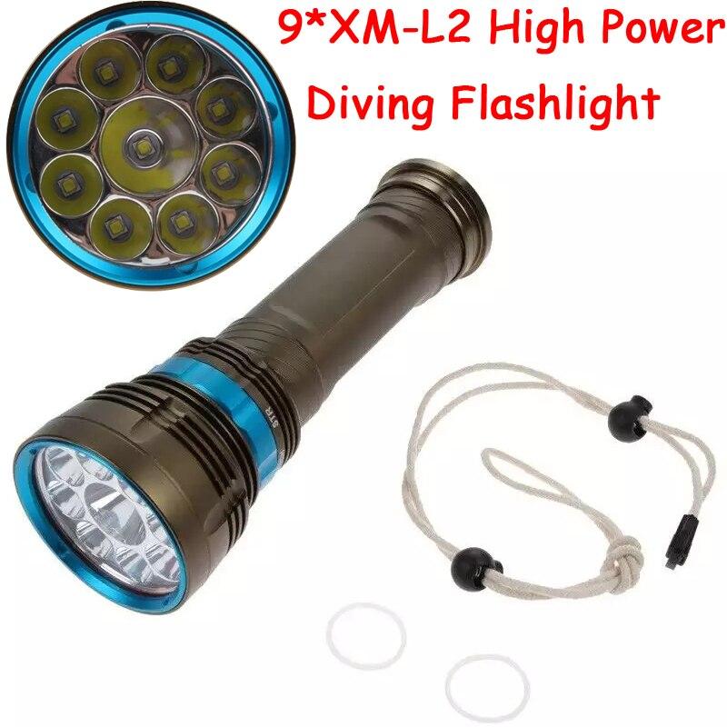 90 W 3-Modo de 18000 lúmenes cree XM-L2 9 x L2 LED buceo linterna antorcha 200 m impermeable subacuática flash LED de luz de la linterna