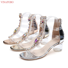 Women Crystal Gladiator Sandals 2019 Summer Shoes Women Open Toe clear Chunky High Heels Sandals Rhinestone Shoes gold silver pink white flowers sandals women crystal studded crossover chunky high heels runway rhinestone summer wedding shoes for ladies