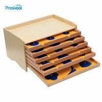 Детские игрушки Монтессори геометрические Кабинет Синий с коробкой раннего дошкольного Brinquedos Juguetes