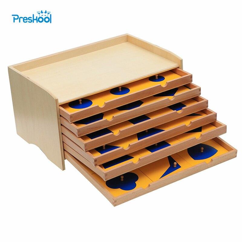 Bébé jouet Montessori géométrique armoire bleu avec boîte début préscolaire Brinquedos Juguetes