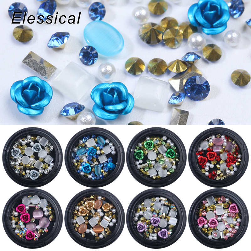 Elessical Mix 3D Nail Decoration Metal Flower Nail Charms Tip Crystal Rhinestones Gems Nails Accessories Cat Eye Manicure Strass