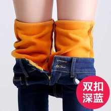 2016 Winter Jeans Pants New Women Denim Pencil Pants Solid Warm Thicken Fleeces Trousers Footless Leggings Plus Size A4411