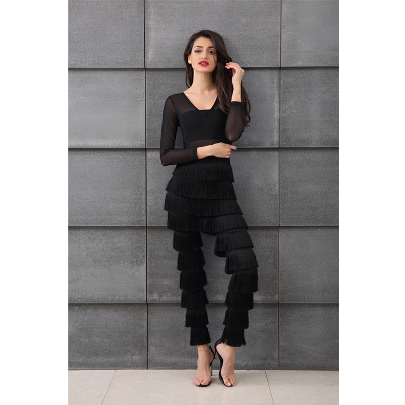 6426da76e729 Leger Babe 2018 Autumn Sexy Long Sleeve Jumpsuits Fringe Plunge V Neck Mesh Tassel  Jumpsuit Women Long Rompers Black Outfits-in Jumpsuits from Women s ...