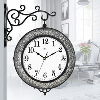 Simple living room, double faced watch, modern creative trend, silver white black personality decorative clock 33CM
