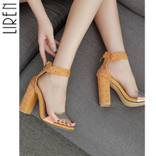 Liren 2019 New Summer Ladies Sandals Fashion Sexy Rhinestone Buckle Fish Mouth Open Toe Zipper Square with High Heel