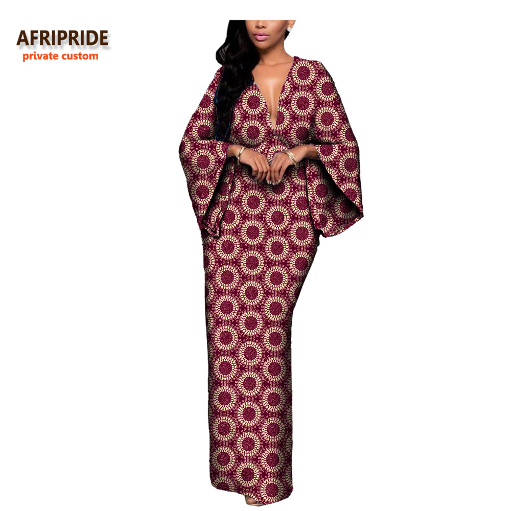 18 autumn sexy women dress AFRIPRIDE private custom flare sleeve V-neck font and back ankle-length african cotton dress A7225107