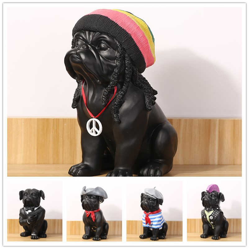 New Creative Personality French Bulldog Dog Octopus Hip Hop Simulation Resin Dog Ornaments Figurine Statue Artificial