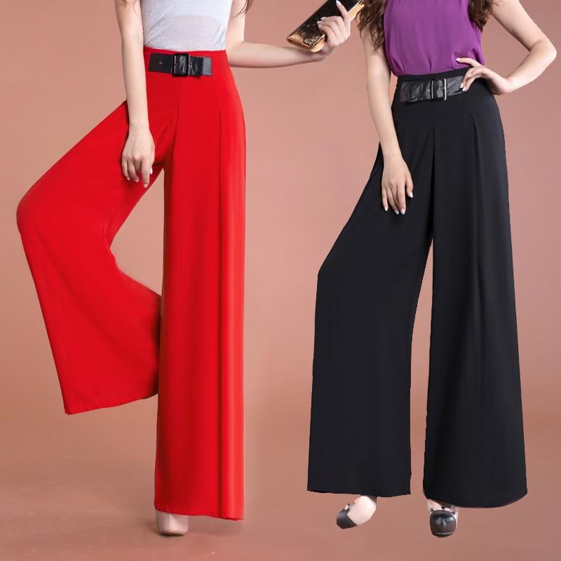 Moda Casual Para Mujer Primavera Verano Rojo De Cintura Alta De Pierna Ancha Pantalones Flojos Otono De La Mujer Delgada Negro Blanco Gasa Pantalones Flare Flare Pants Loose Trousersfashion Trousers Aliexpress