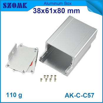 10pcs/lot 38(H)x61(W)x80(L) mm power amplifier chassis aluminium enclosure for pcb box