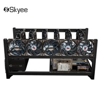 S SKYEE USB Switch Aluminum 6GPU Open Air Mining Rig Frame Case 5 Fans For ETH