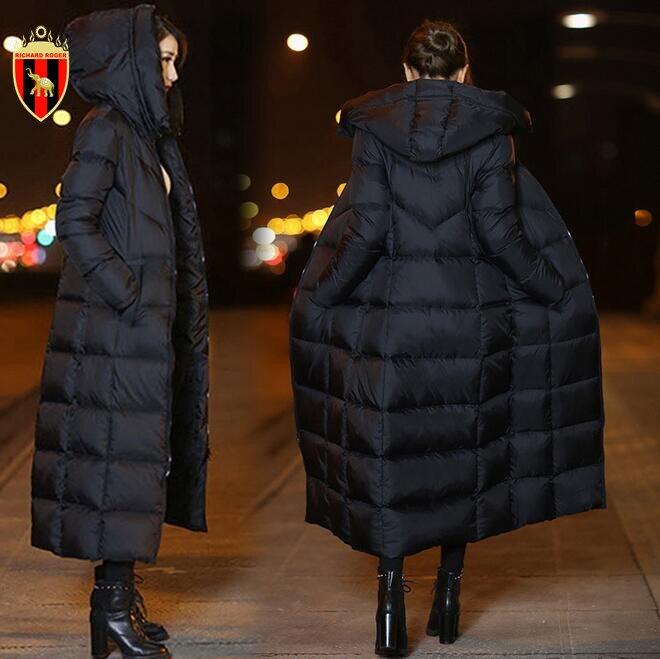 RICHARDROGER пуховик женский зимний Жакет женский длинный Новый 2018 выше колена зимняя куртка с капюшоном Теплый Женский стеганый хлопок