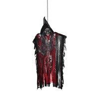 ホーム&リビングハロウィンプロップ電気発光おかしいゴーストアニメーションスピーキング魔女赤く光る目ぶら下げハロウィン装飾