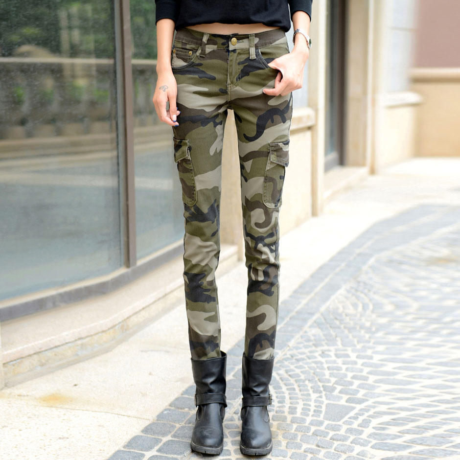 Fengmeisi 2017 fashion camo skinny jeans woman camouflage jeans slim plus size pencil jean femme pantalones vaqueros mujer P2345 худи print bar the walking dead