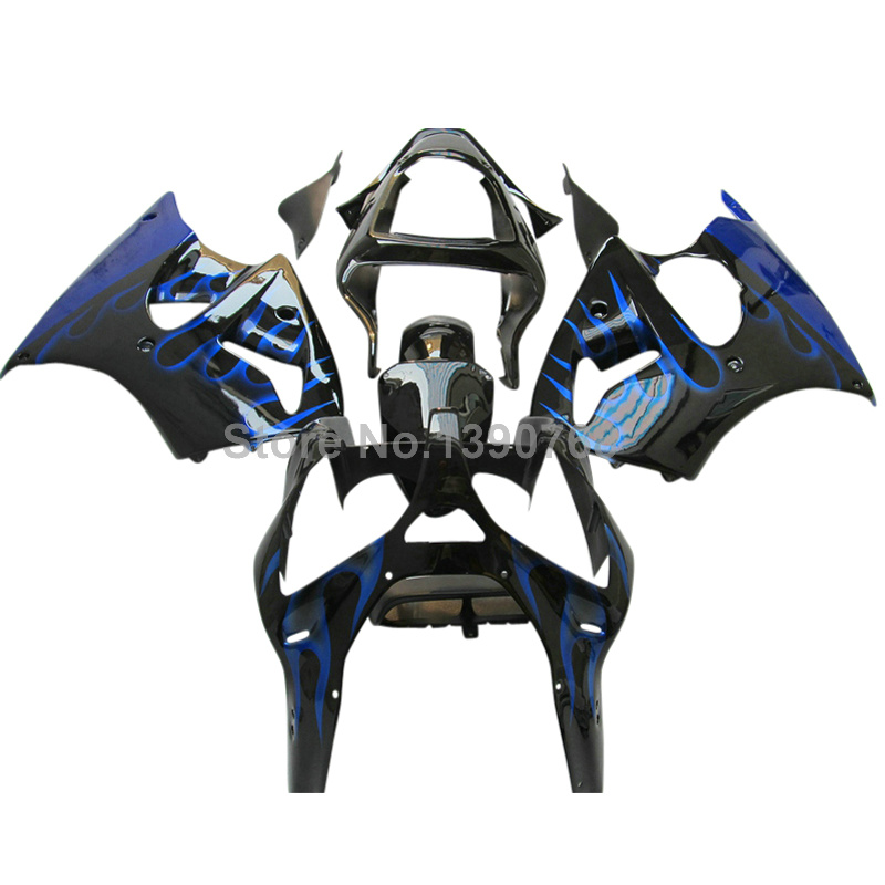 Injection molding fairing kit fit for Kawasaki ZZR600 2005-2008 blue flames black fairings ZZR 600 05 06 07 08 body kits DE84