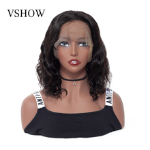 VSHOW 13X4 Lace Front Wig Pre Plucked 150% Density Brazilian Short Human Hair Wigs With Baby Hair  Body Wave Remy Hair Bob Wig стоимость