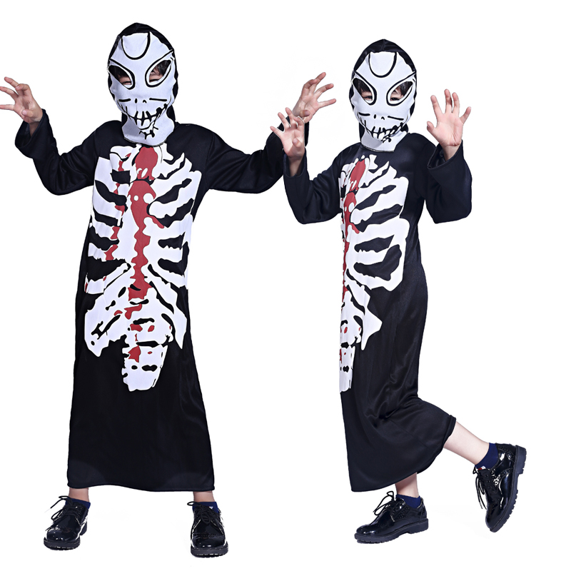 Free shipping Halloween black ghost zombie role-playing boys clothes clothing masquerade party costumes performance clothing