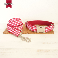 100pcs Lot MUTTCO Wholesale Characteristic High Quality Collar THE RED YUMMY PLAID Soft Dog Collars Leashes