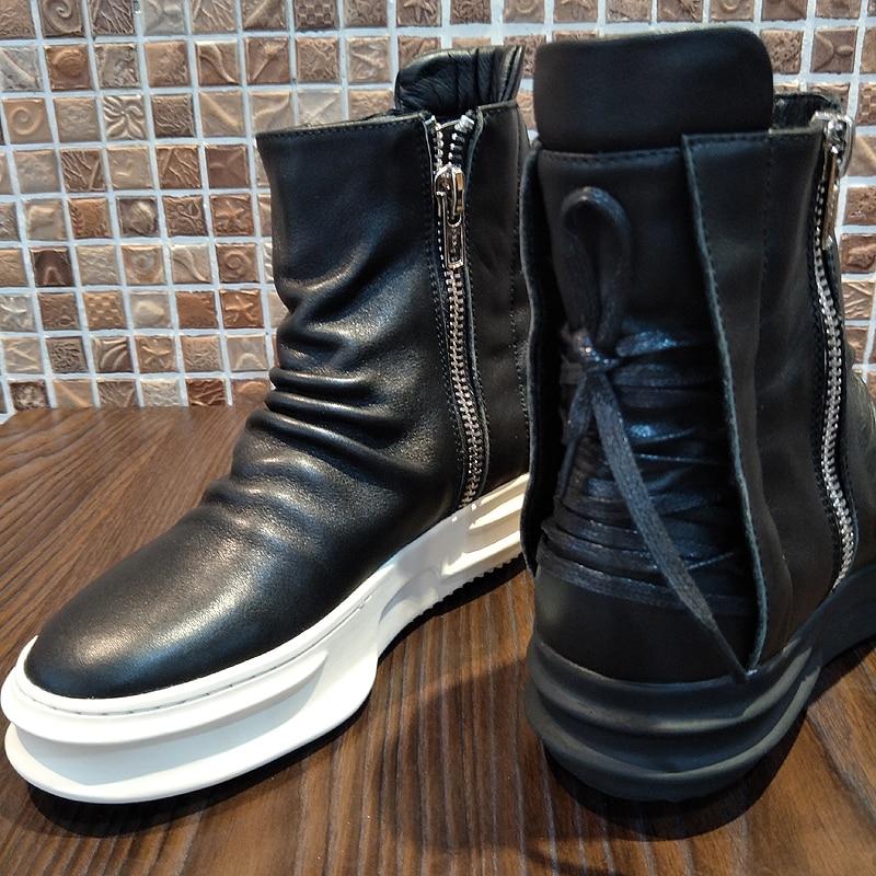 Cremallera Hombres Lateral Negro Fresco Zapatillas Zapatos Estilo Cuero Arriba Plataforma Tobillo Show Deporte Alta De Los Del La Punk D Botas Moda Rock as As Show 5qfxXwIf