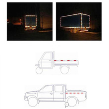DIY White Red Lattice Reflective Sticker Shininess Strip Stickers Tape Styling For Truck Trailer Car Roadway Safety Accessories