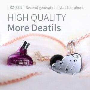 Image 4 - KZ ZSN 金属ヘッドフォンハイブリッド技術 1BA + 1DD ハイファイ低音イヤホン耳モニターイヤホンスポーツノイズキャンセヘッドセット