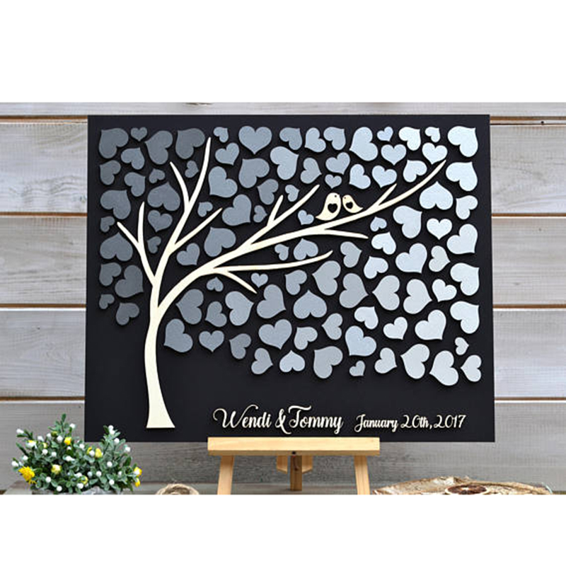 Original Wedding Guest Book Ideas: Wedding Sign Personalized Guest Book, 3D Wedding Guest