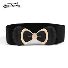 Badinka 2018 New White Black Red Elastic Stretch Bow Belt Woman Ladies Wide Waist Corset Belts Cummerbund Straps for Women Dress