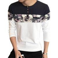 Men T Shirt Homme New Design Fashion Flower Print Men S T Shirts Long Sleeve Button