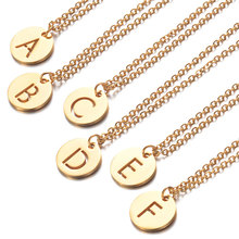 2019 316L Stainless Steel 26 Letters Initial Necklace Gold Silver Tone Alphabet Disc Pendant Long Chain Necklace for Women Men stainless steel initial necklace rose gold alphabet disc pendant necklace initial jewelry for women girls