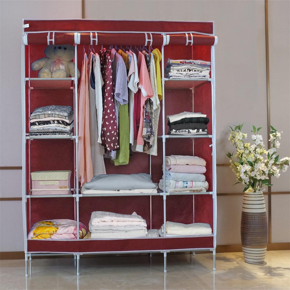 finether doble modular con marco de metal armario de tela ropa de armario porttil armario