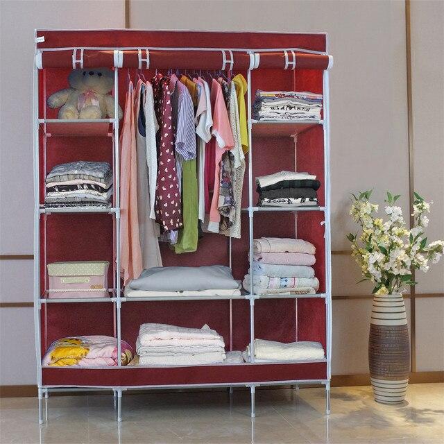 Finether Double Modular Metal Framed Fabric Wardrobe,Portable Clothes Closet  Wardrobe Non Woven Fabric