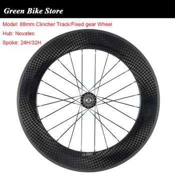 700C wysokiej klasy 88mm Clincher utwór stałe biegów Single Speed koła gąsienic węgla rowery drogowe węglowe koła koła rowerowe tanie i dobre opinie CARBON SUPERTEAM V hamulca WH-R88CF-C23 12k glossy Track fixed gear bike 88mm carbon bicycle wheels Toray 700c 166 hub 17Teeth