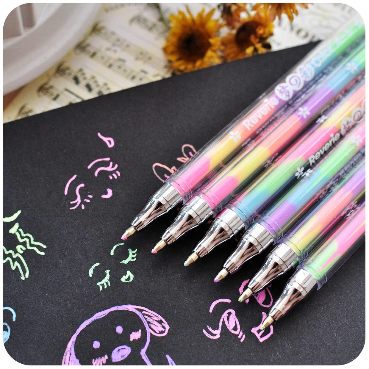 6 In 1 1pcs Yellow Gouache Pen Drawing Toys Book Coloring Book Doodle Pen Painting Drawing Board Kids Toys Birthday Gift