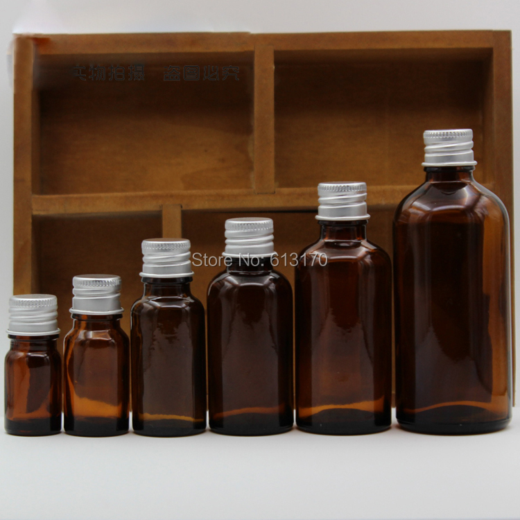 5ml,10ml,15ml,20ml,30ml,50ml,100ml Empty Amber Glass Bottles Sample Vials Aluminum Cap Brown Essential Oil Bottles