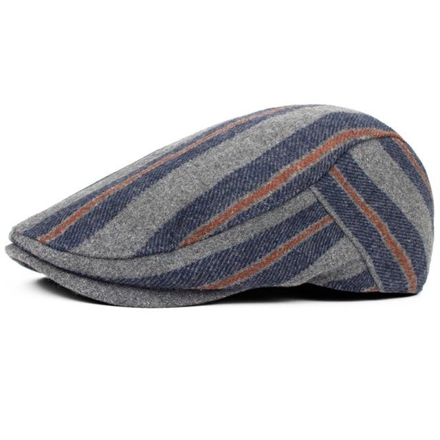 0d9f114406d Cap autumn and winter hat men and women general cap fashion stripe wool  blending beret casual