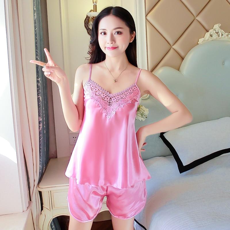 Sexy Silk Satin Spaghetti Strap Pajamas Set for Women Fashion Sleeveless  Lingerie Pyjama Femme Sleepwear Shorts Pijama Home Wear-in Pajama Sets from  ... 18eaed8ed