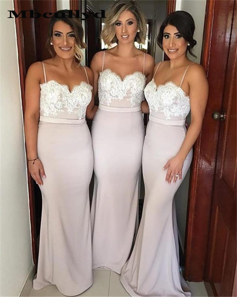 Mbcullyd Mermaid Bridesmaid Dresses Long 2019 With Appliques Lace Spaghetti Straps Women Party Dress Formal Gown Under 100