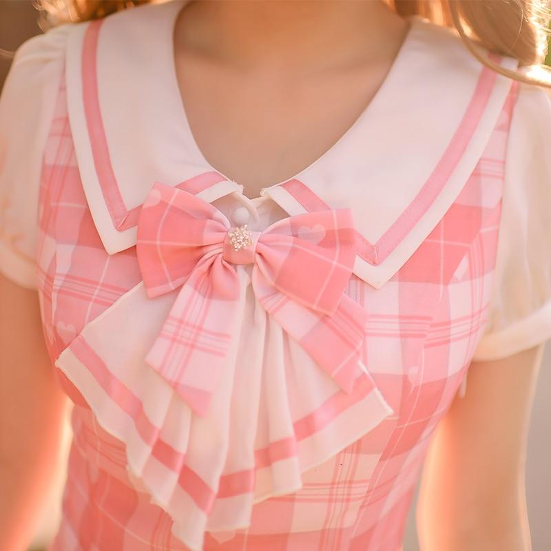 プリンセス甘いロリータドレスキャンディ雨2016夏新甘いチェック新しいカレッジ風フェイク2プリンセスドレス女性C16AB6078  グループ上の レディース衣服 からの ドレス の中 3