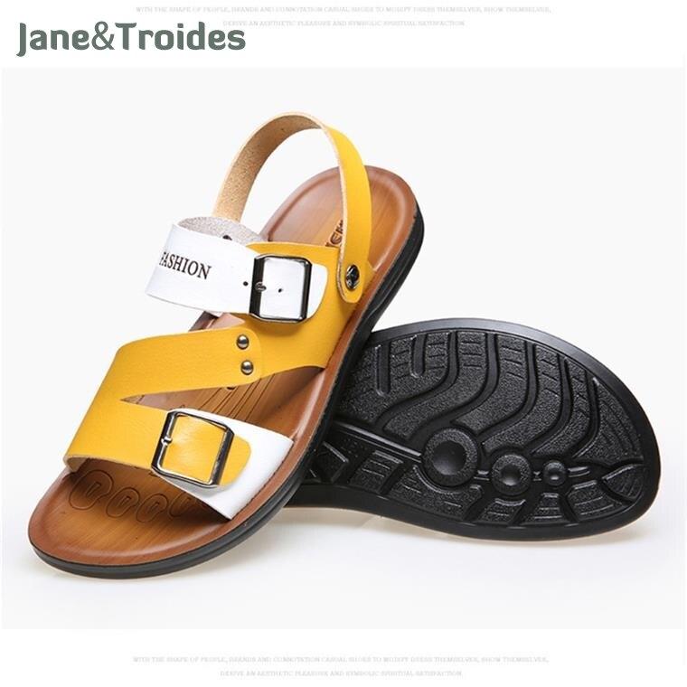 Men Sandals Leather 2018 Slippers Beach Summer Straps Casual Shoes Outdoor Zapatos Slides Flip Flops Fashion Sandalias