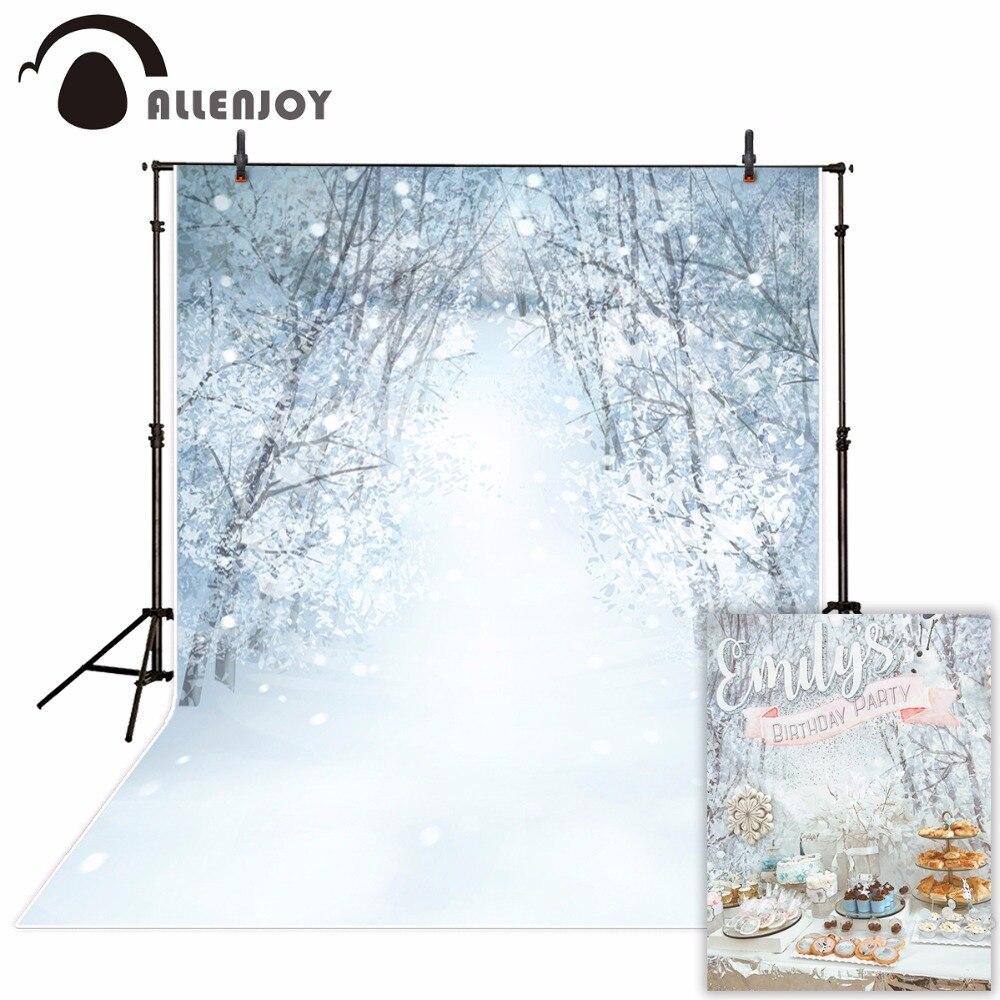 Allenjoy photography background snow forest Bokeh Winter Christmas theme backdrop professional photo studio
