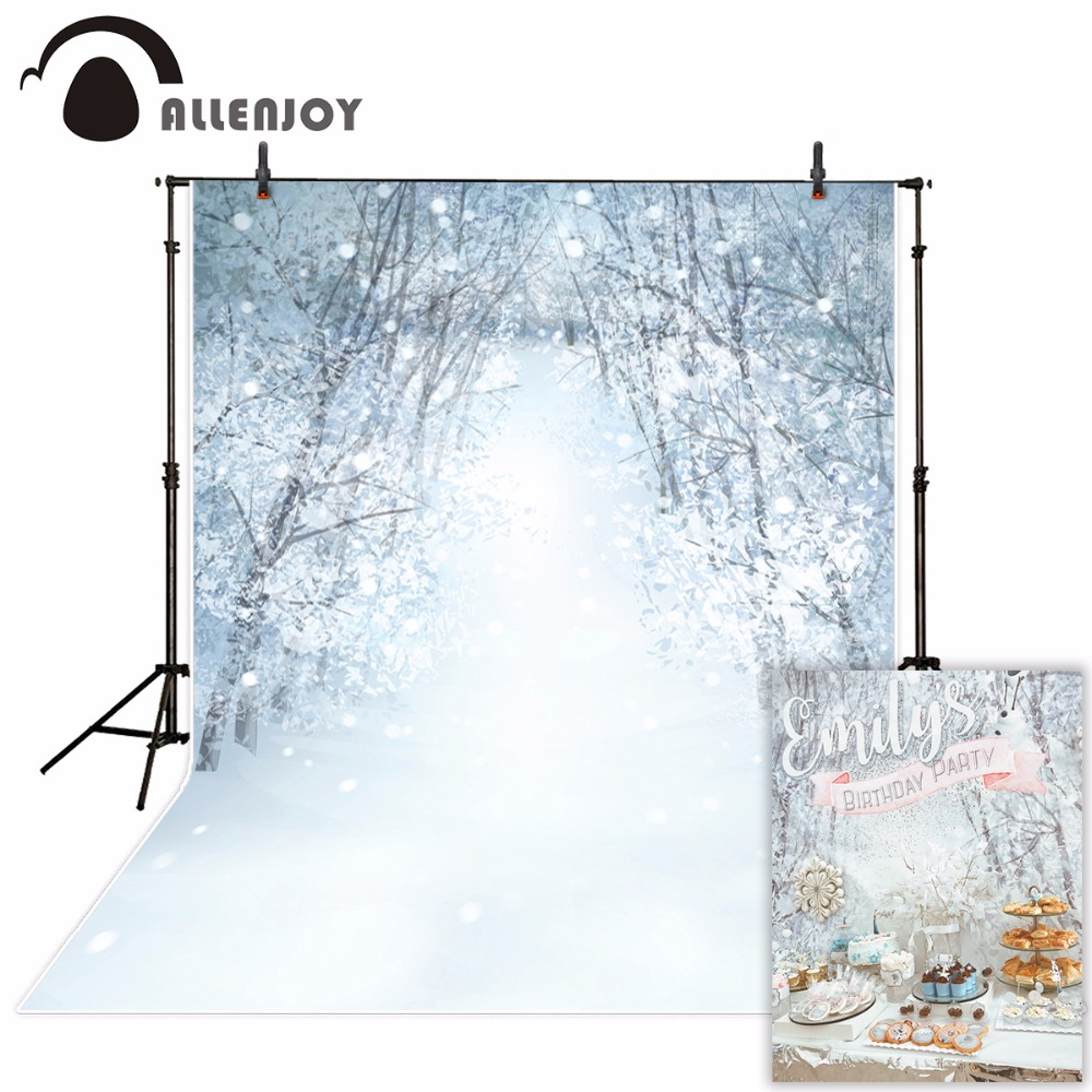 Allenjoy photography background snow forest Bokeh Winter Christmas theme backdrop professional photo background studio allenjoy background photography winter snow tree white bokeh christmas backdrop nature photocall prop customize original design
