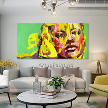 Palette knife portrait Face Oil painting Character figure canva Hand painted Francoise Nielly wall Art picture 06-10-3f1