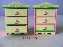 W008-2 New children gift kids wooden toy Furniture doll house furniture DIY Educational  living room furniture cabinet 2pcs/set