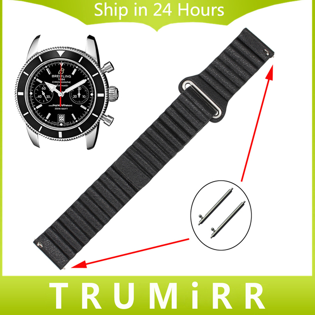 18 мм 20 мм 22 мм 24 мм Натуральная Кожа Часы Ремешок для Breitling Магнитного Пряжки Ремень Quick Release Пояса браслет Черный Синий Коричневый