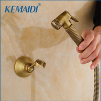 KEMAIDI Antique Brass Bidet Faucets Wall Mounted Bathroom Shower Toilet Faucet With Hand Shower Bathroom Accessories
