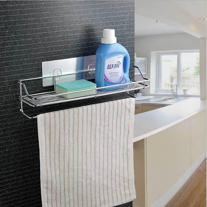 Sundries Shelf Sucker Rack Stainless Steel Kitchen Bathroom