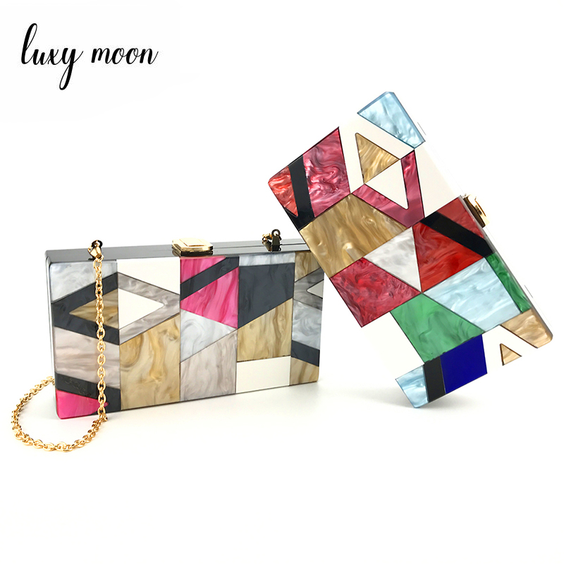 Luxy Moon Evening Purse Acrylic Clutch Box Bag for Women Red Handmade Designer Chain Women Shoulder handbag Hard Case ZD790 luxy moon bling crystal clutch purse rhinestones evening bag for women jewelry hard case handbags bridesmaid shoulder bags zd799