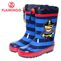 FLAMINGO famous brand 2017 new collection spring-autumn fashion gumboots with wool quality anti-slip kids shoes for boys W5501