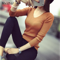 2017 New Spring Elegant Knitwear Solid Color V Neck Long Sleeve Bottoming Knitted Sweaters and Pullovers High Elasticity