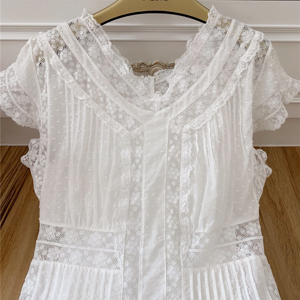 Rouge Supérieure Robe V Dentelle Blanc blanc Noir Vestidoes Noir Coton Femmes Midi Pour Qualité Designer Roosarosee D'été Sexy Vacances cou Broderie vqnrvY